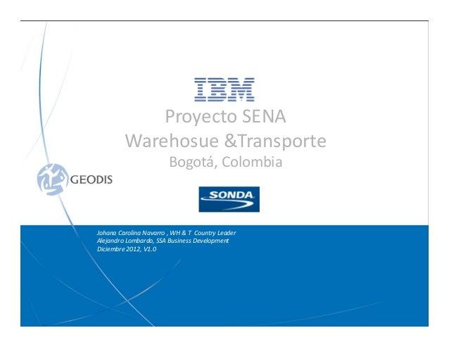 Johana Carolina Navarro , WH & T Country Leader Alejandro Lombardo, SSA Business Development Diciembre 2012, V1.0 Proyecto...