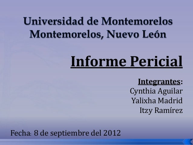 Informe Pericial                                    Integrantes:                                  Cynthia Aguilar         ...