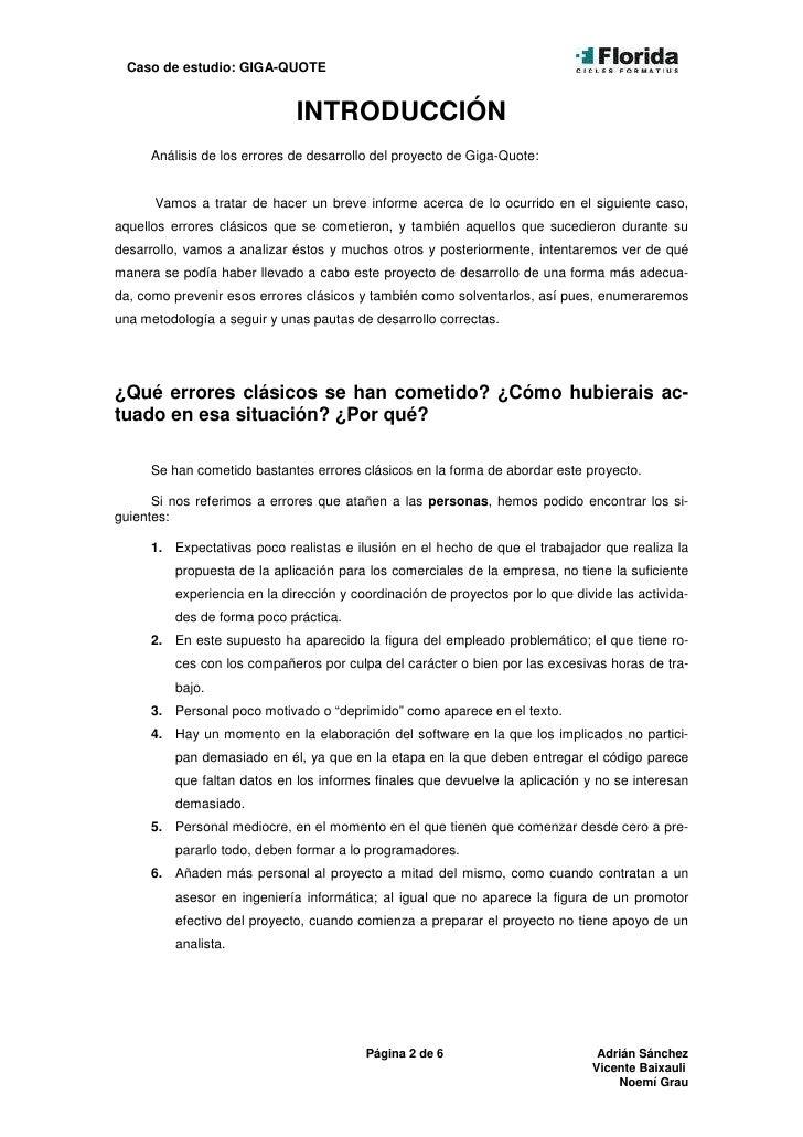 Caso de estudio: GIGA-QUOTE                                INTRODUCCIÓN      Análisis de los errores de desarrollo del pro...