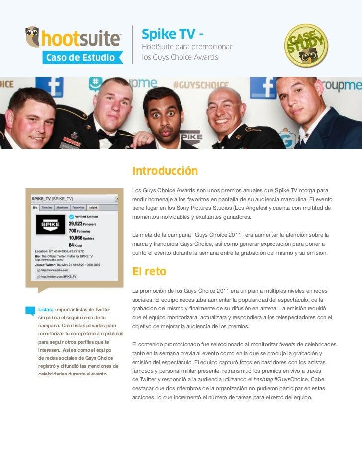 HootSuite Case Study - Spike TV y HootSuite - Caso de Estudio Guys Choice Awards (Spanish, español)