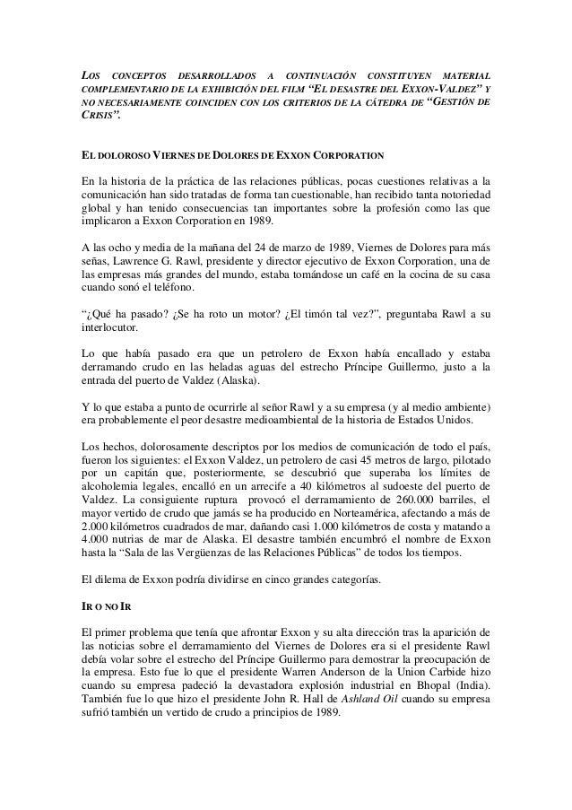 """LOS CONCEPTOS DESARROLLADOS A CONTINUACIÓN CONSTITUYEN MATERIALCOMPLEMENTARIO DE LA EXHIBICIÓN DEL FILM """"EL DESASTRE DEL E..."""