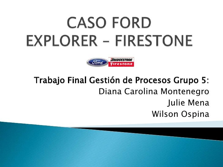 ford and firestone case study The ford motor company and bridgestone/firestone have both agreed to settle a high-profile lawsuit involving a texas woman who was left a quadriplegic after the explorer she was riding in rolled.