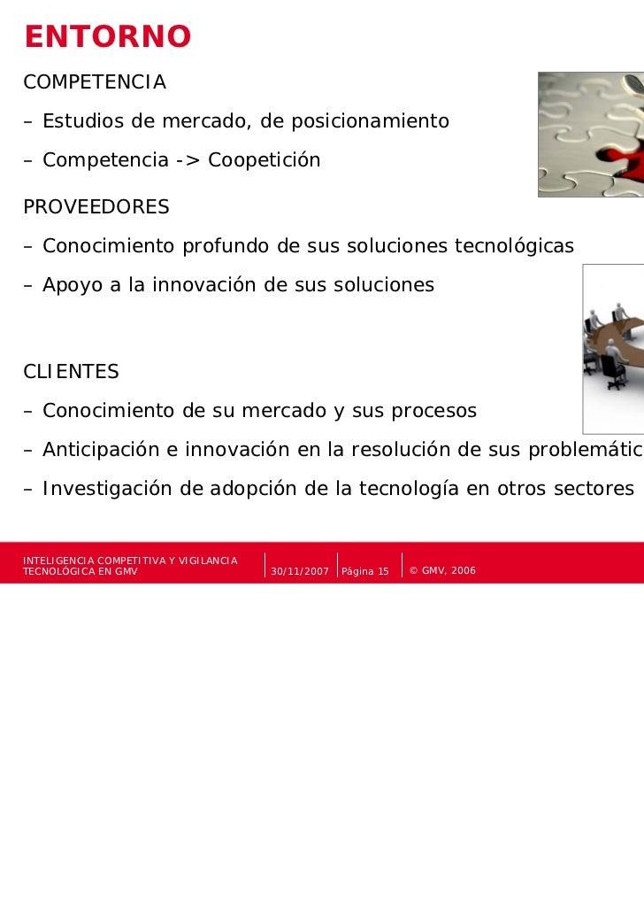 ENTORNOCOMPETENCIA– Estudios de mercado, de posicionamiento– Competencia -> CoopeticiónPROVEEDORES– Conocimiento profundo ...