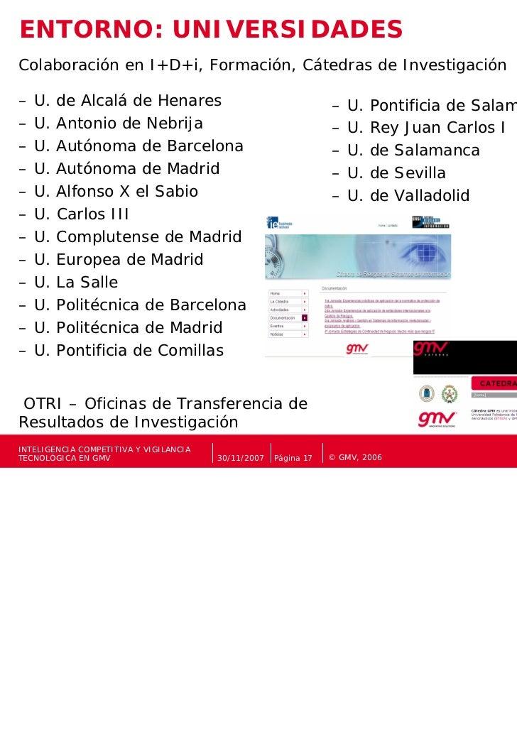 ENTORNO: UNIVERSIDADESColaboración en I+D+i, Formación, Cátedras de Investigación–   U.   de Alcalá de Henares            ...