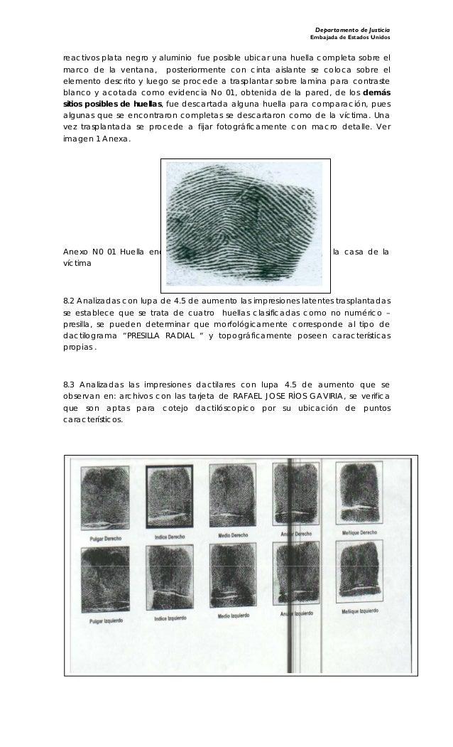 Departamento de Justicia Embajada de Estados Unidos reactivos plata negro y aluminio fue posible ubicar una huella complet...