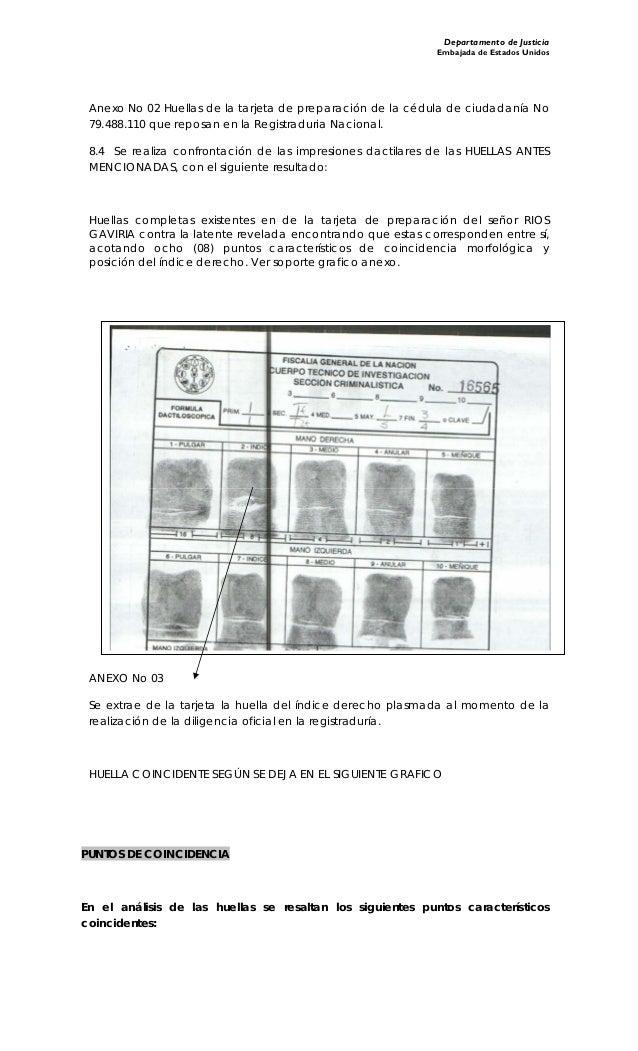 Departamento de Justicia Embajada de Estados Unidos Anexo No 02 Huellas de la tarjeta de preparación de la cédula de ciuda...