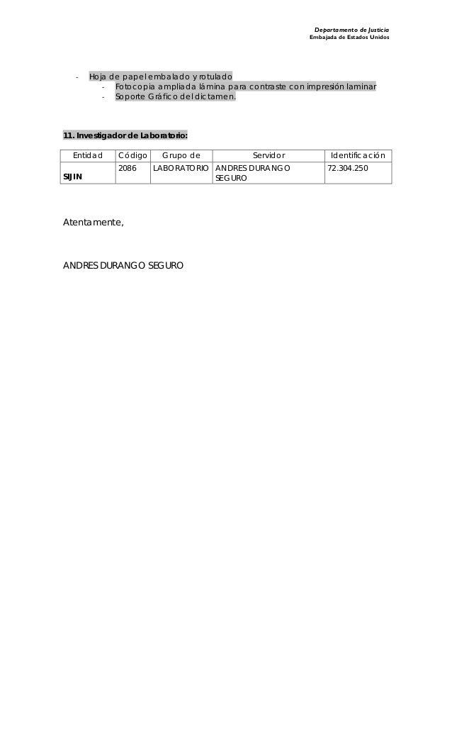 Departamento de Justicia Embajada de Estados Unidos ‐ Hoja de papel embalado y rotulado ‐ Fotocopia ampliada lámina para c...