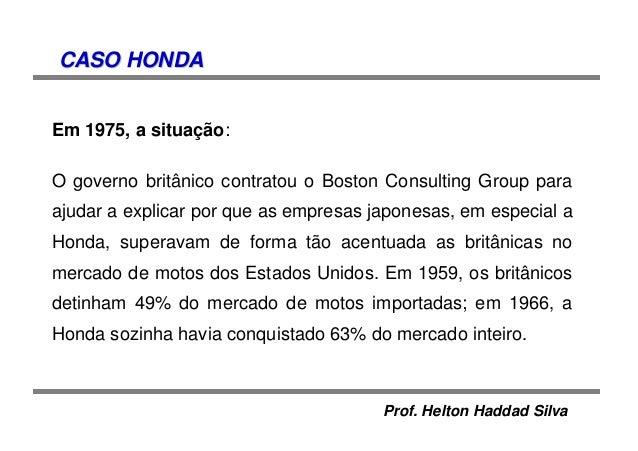 Prof. Helton Haddad Silva CASO HONDACASO HONDA Em 1975, a situação: O governo britânico contratou o Boston Consulting Grou...