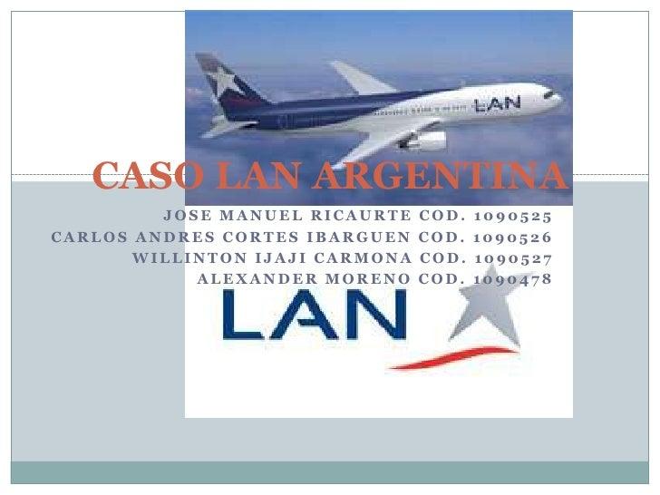 CASO LAN ARGENTINA<br />JOSE MANUEL RICAURTE COD. 1090525<br />CARLOS ANDRES CORTES IBARGUEN COD. 1090526<br />WILLINTON I...