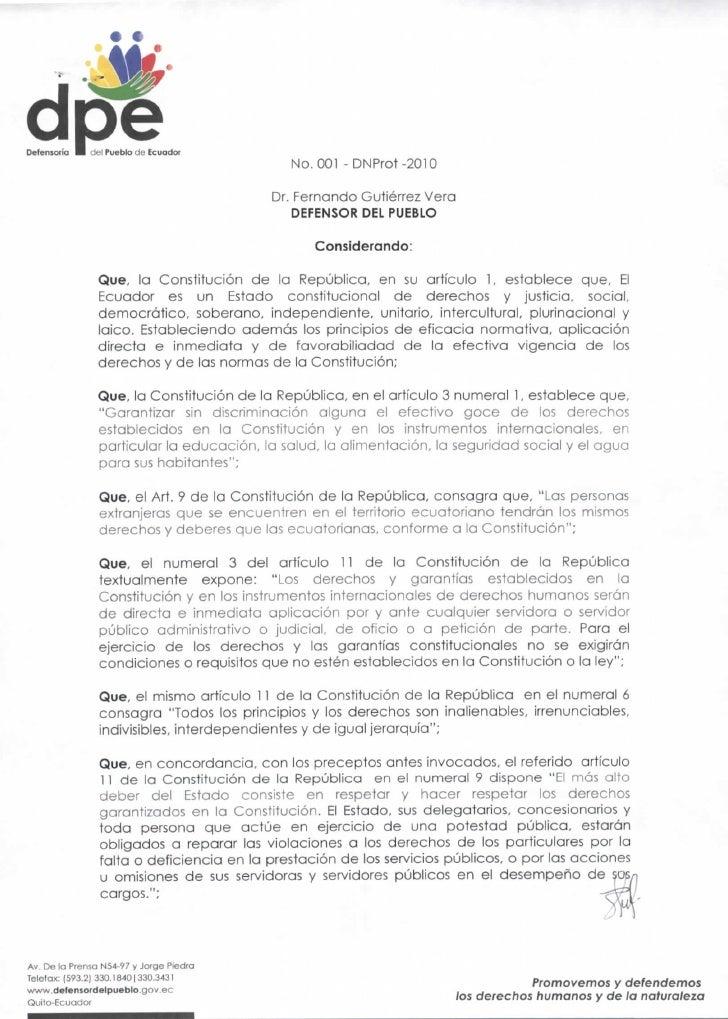 Defensorio    cíe! Pueblo de Ecuador                                             No. 001 -DNProt-2010                     ...