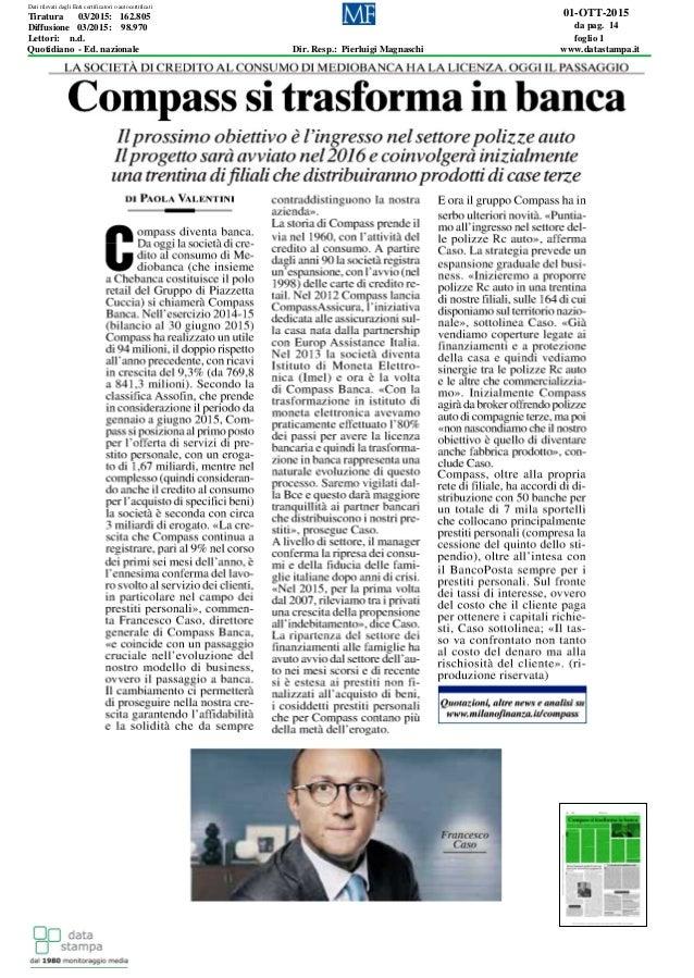 01-OTT-2015 da pag. 14 foglio 1 Dir. Resp.: Pierluigi Magnaschi www.datastampa.it Lettori: n.d. Diffusione 03/2015: 98.970...