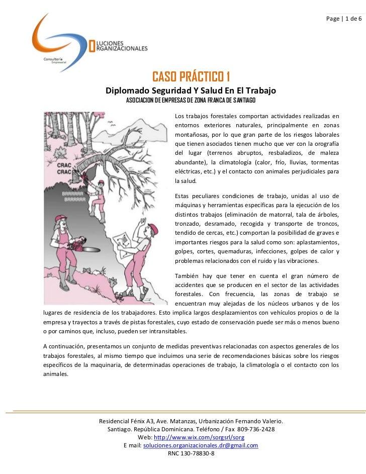Page | 1 de 6                                       CASO PRÁCTICO 1                      Diplomado Seguridad Y Salud En El...