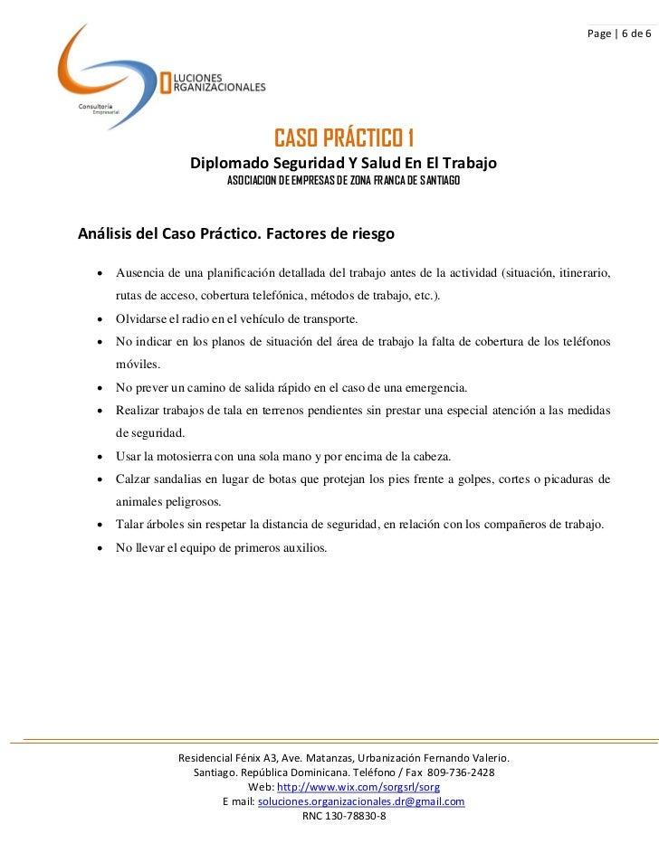 Page | 6 de 6                                      CASO PRÁCTICO 1                      Diplomado Seguridad Y Salud En El ...
