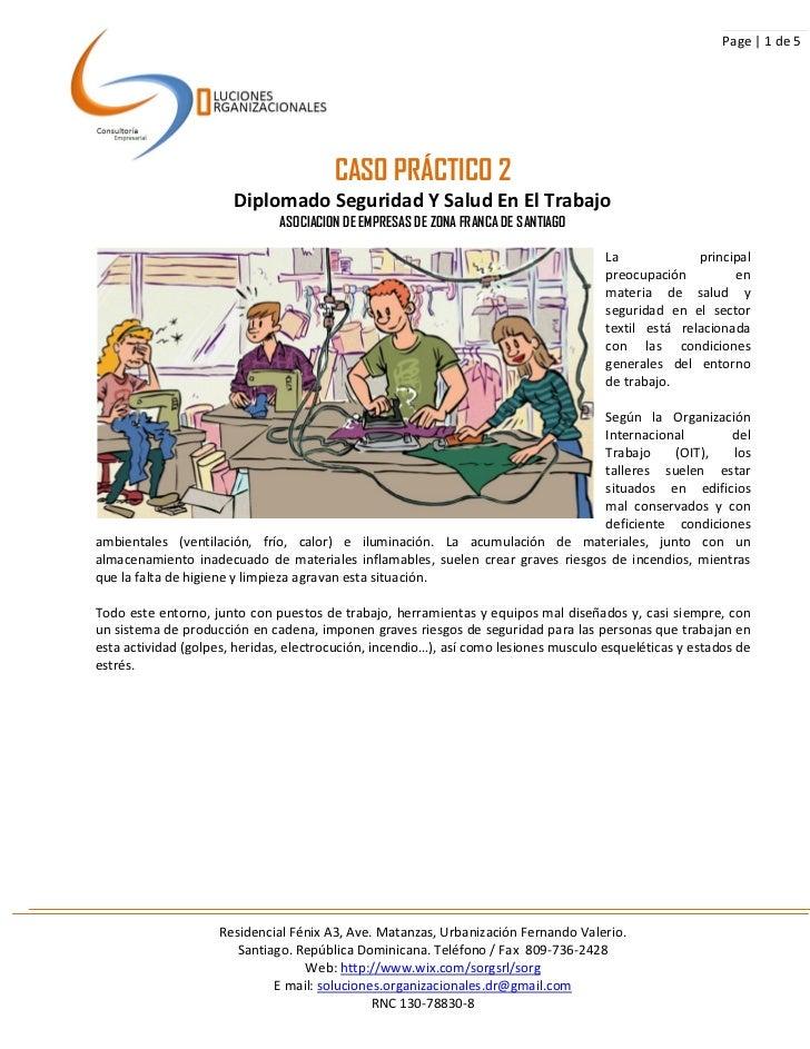Page | 1 de 5                                        CASO PRÁCTICO 2                       Diplomado Seguridad Y Salud En ...