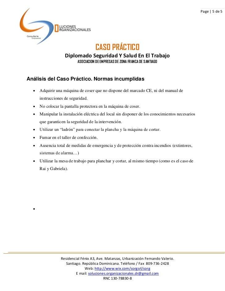 Page | 5 de 5                                      CASO PRÁCTICO                    Diplomado Seguridad Y Salud En El Trab...
