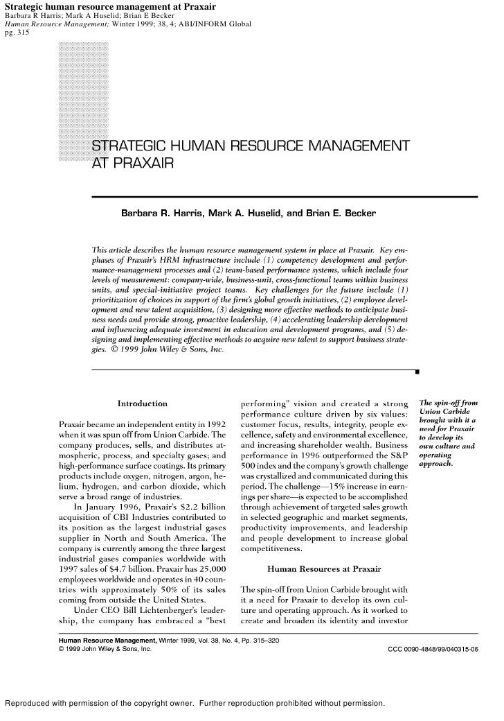 Strategic human resource management at Praxair Barbara R Harris; Mark A Huselid; Brian E Becker Human Resource Management;...
