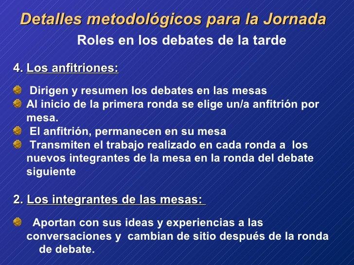 <ul><li>Roles en los debates de la tarde </li></ul><ul><li>Los anfitriones: </li></ul><ul><li>Dirigen y resumen los debate...