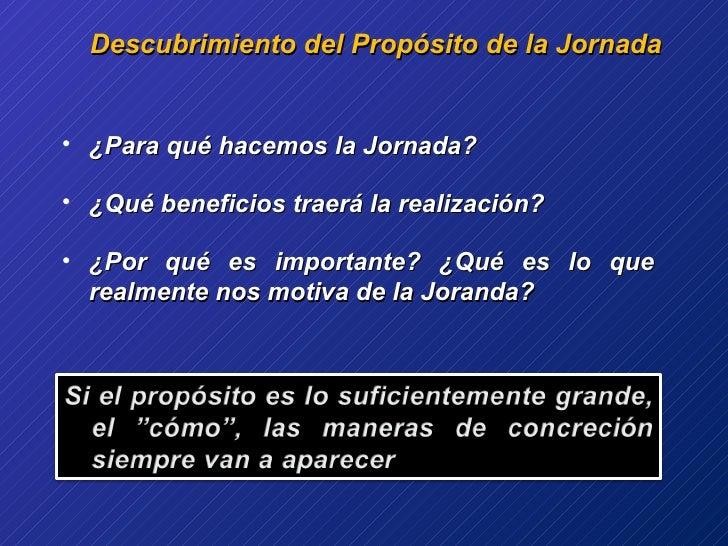 Descubrimiento del Propósito de la Jornada <ul><li>¿Para qué hacemos la Jornada? </li></ul><ul><li>¿Qué beneficios traerá ...
