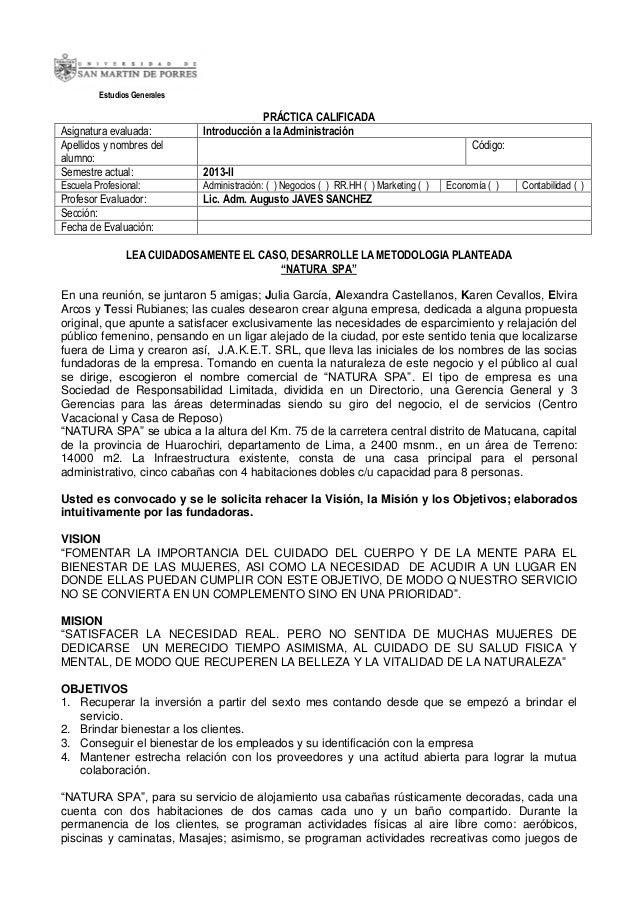 Estudios Generales  Asignatura evaluada: Apellidos y nombres del alumno: Semestre actual:  PRÁCTICA CALIFICADA Introducció...