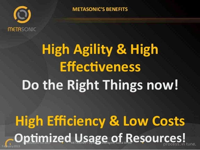 """METASONIC'S""""BENEFITS""""  High""""Agility""""&""""High"""" EffecKveness"""" Do""""the""""Right""""Things""""now!"""" """" High""""Efficiency""""&""""Low""""Costs""""  OpKmized""""..."""