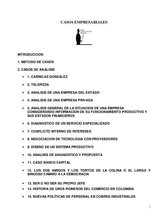 CASOS EMPRESARIALES1INTRODUCCION1. METODO DE CASOS2. CASOS DE ANALISIS• 1. CARNICAS GONZALEZ• 2. TELEPIZZA• 3. ANALISIS DE...