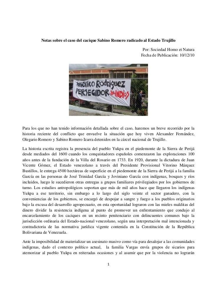Notas sobre el caso del cacique Sabino Romero radicado al Estado Trujillo                                                 ...