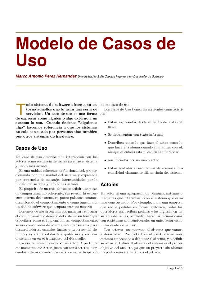 Modelo de Casos deUsoMarco Antonio Perez Hernandez Universidad la Salle Oaxaca Ingeniera en Desarrollo de SoftwareTodo sis...