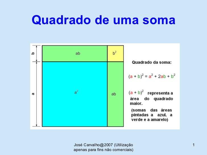 Quadrado de uma soma José Carvalho@2007 (Utilização apenas para fins não comerciais)
