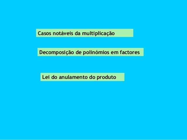 Casos notáveis da multiplicação  Decomposição de polinómios em factores  Lei do anulamento do produto