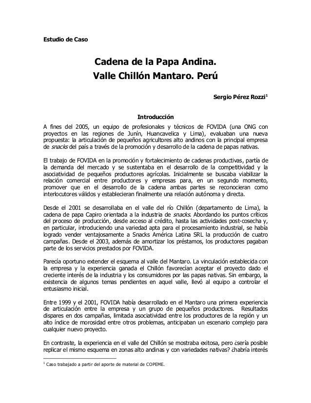 Estudio de Caso                           Cadena de la Papa Andina.                          Valle Chillón Mantaro. Perú  ...