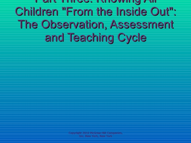 """Part Three: Knowing All Children """"From the Inside Out"""": The Observation, Assessment and Teaching Cycle Copyright..."""