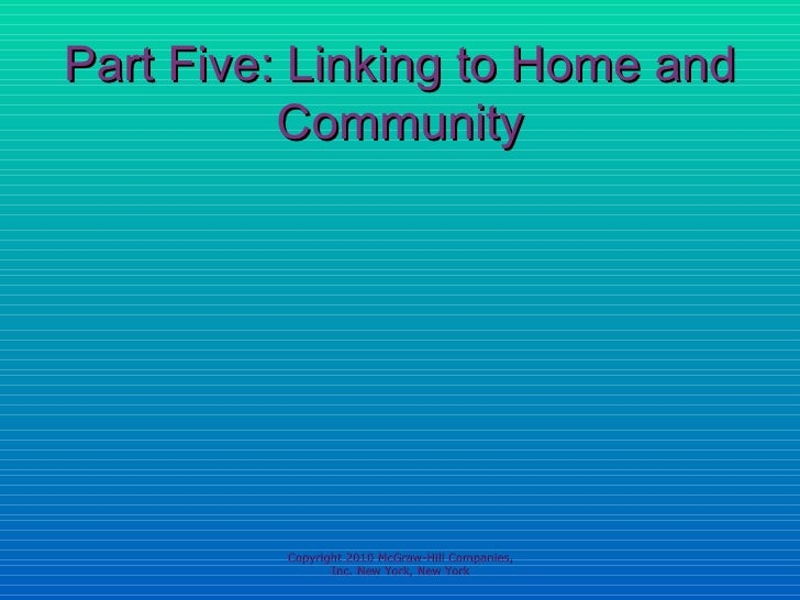 Part Five: Linking to Home and Community Copyright 2010 McGraw-Hill Companies, Inc. New York, New York