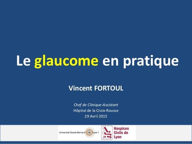 Le glaucome en pratique Vincent FORTOUL Chef de Clinique-Assistant Hôpital de la Croix-Rousse 29 Avril 2015