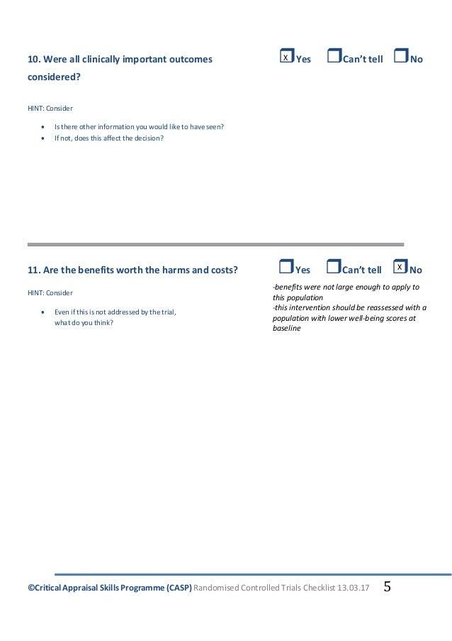 Critical Appraisal Skills Programme (CASP) Randomised