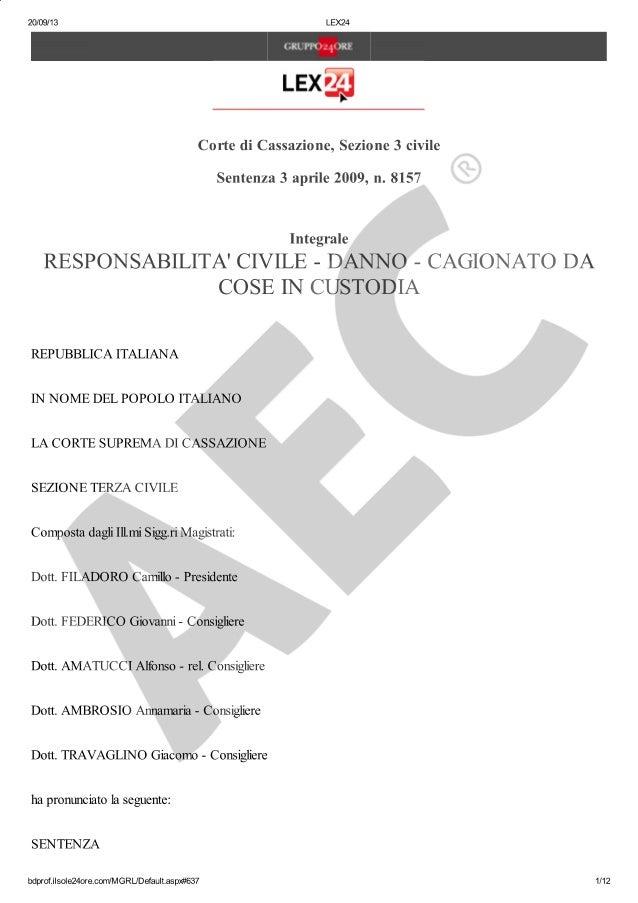 Cass. sez 3 sent. n. 8157 del 3 aprile 2009