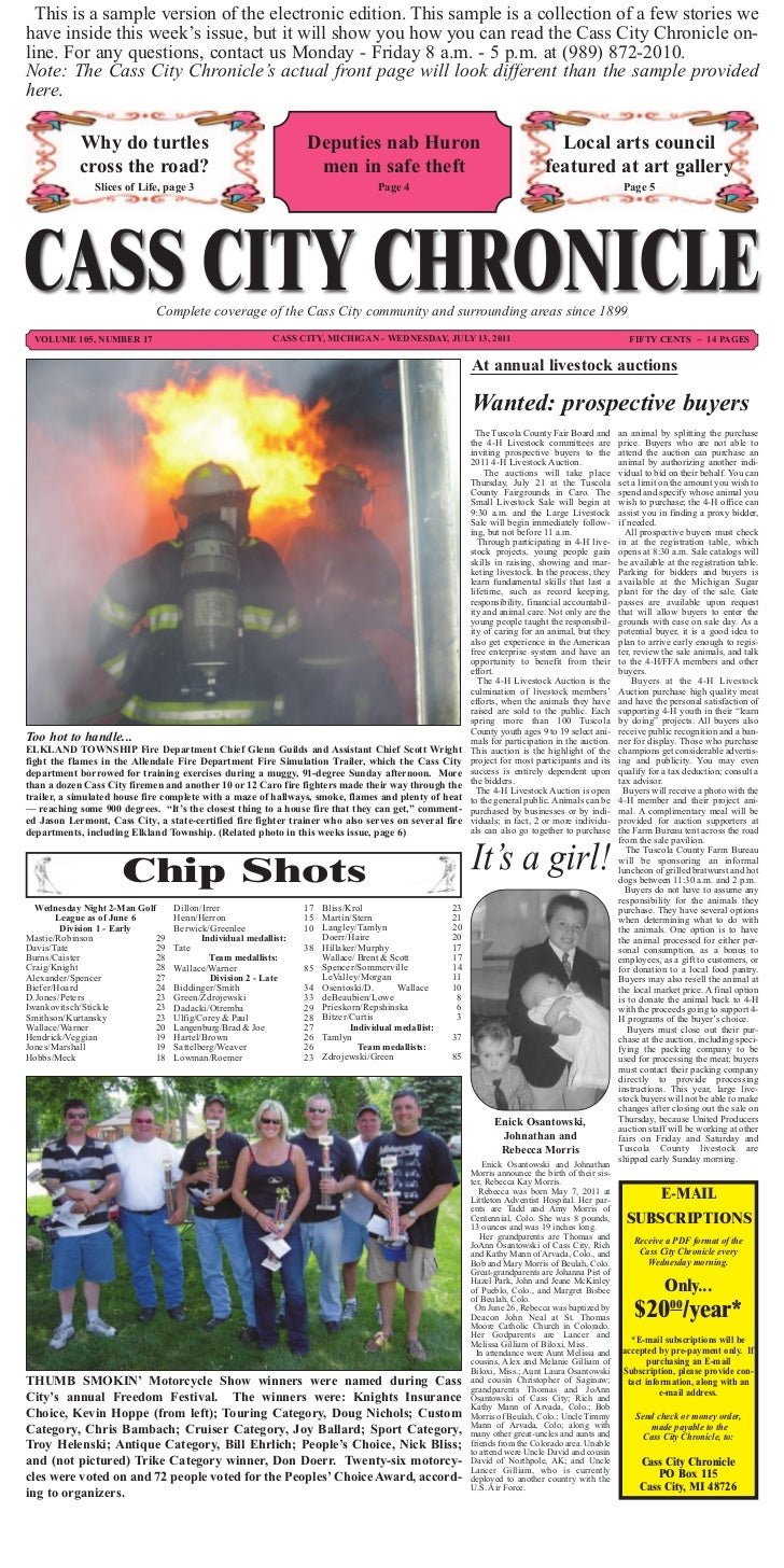 Michigan tuscola county cass city 48726 - Cass City Chronicle News This Is A Sample Version Of The Electronic Edition This Sample Is A Collection Of