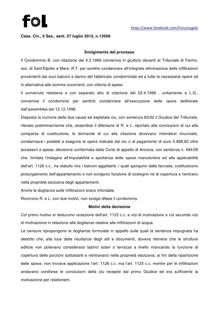 Cass Civ Ii Sez Sent 27 Luglio 2012 N 13509