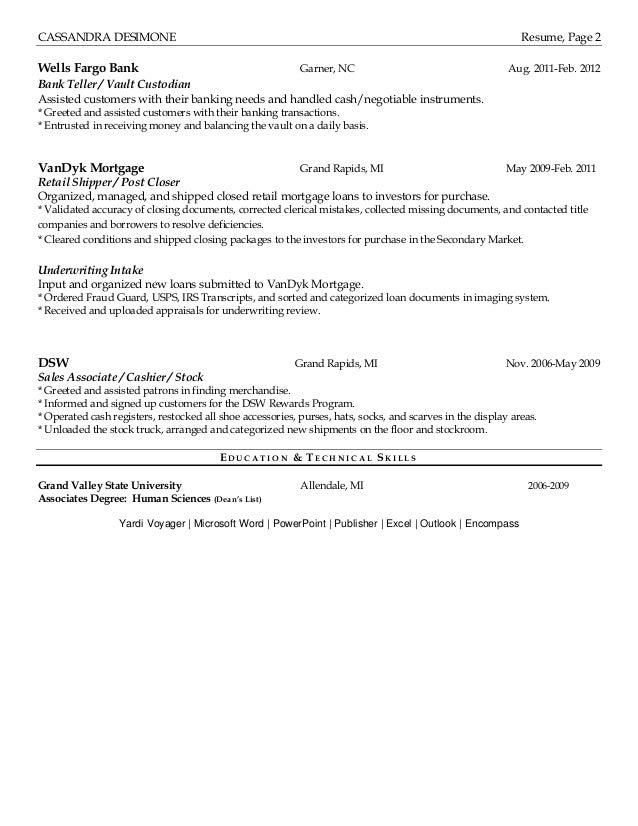 Dsw Resume