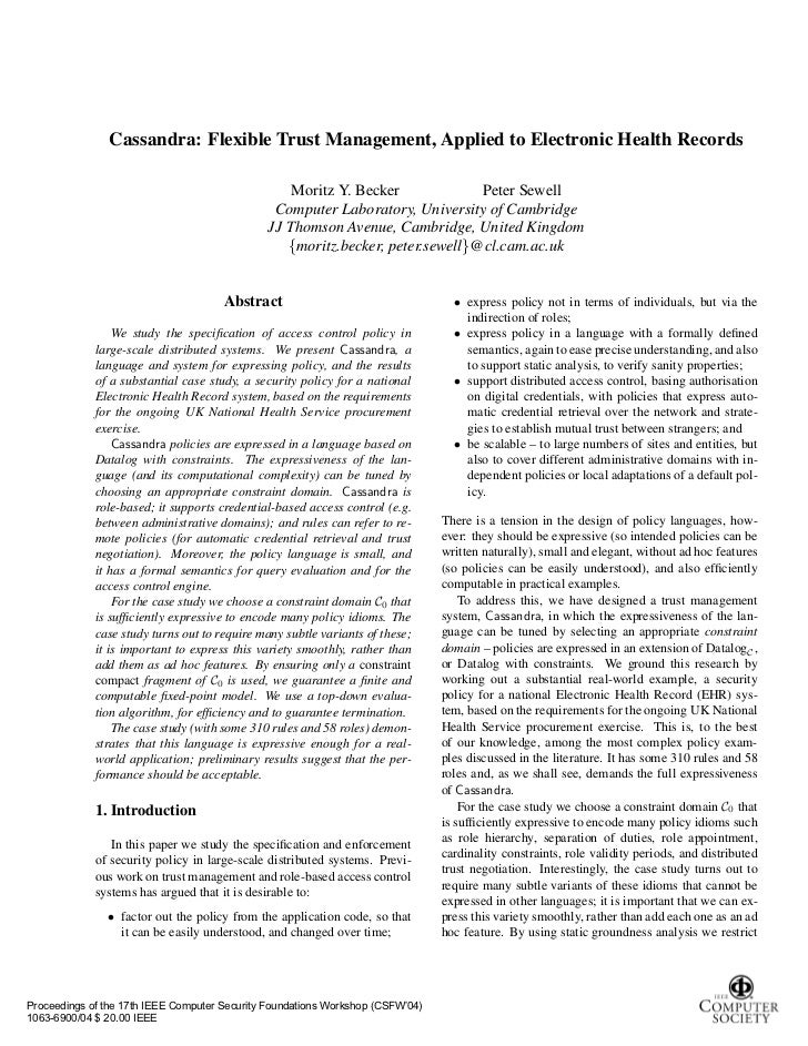Cassandra: Flexible Trust Management, Applied to Electronic Health Records                                                ...