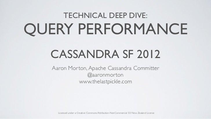 TECHNICAL DEEP DIVE:QUERY PERFORMANCE  CASSANDRA SF 2012  Aaron Morton, Apache Cassandra Committer               @aaronmor...
