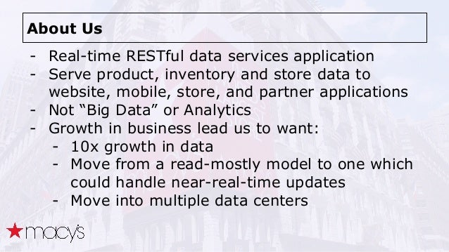 About Us - Real-time RESTful data services application - Serve product, inventory and store data to website, mobile, store...
