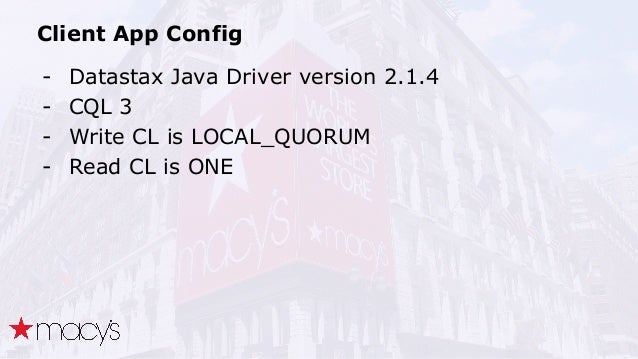 Client App Config - Datastax Java Driver version 2.1.4 - CQL 3 - Write CL is LOCAL_QUORUM - Read CL is ONE