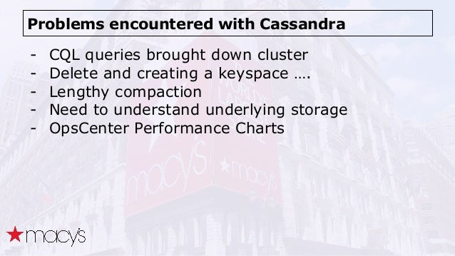 Problems encountered with Cassandra - CQL queries brought down cluster - Delete and creating a keyspace …. - Lengthy compa...
