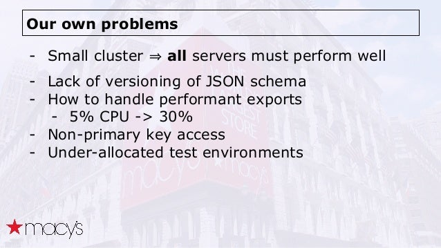 Our own problems - Small cluster all servers must perform well - Lack of versioning of JSON schema - How to handle perform...