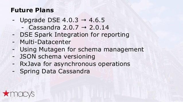 Future Plans - Upgrade DSE 4.0.3 → 4.6.5 - Cassandra 2.0.7 → 2.0.14 - DSE Spark Integration for reporting - Multi-Datacent...