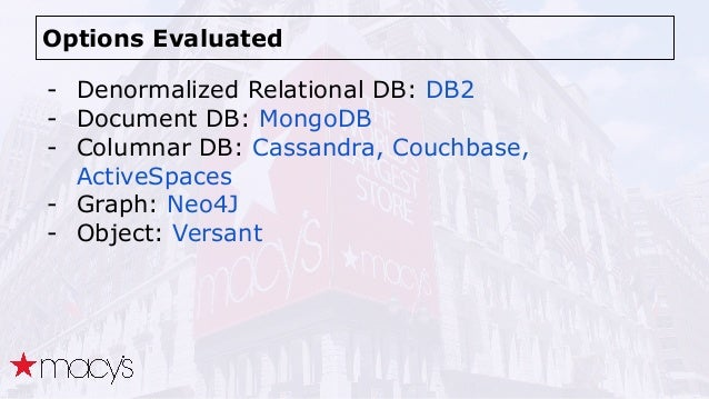 Options Evaluated - Denormalized Relational DB: DB2 - Document DB: MongoDB - Columnar DB: Cassandra, Couchbase, ActiveSpac...