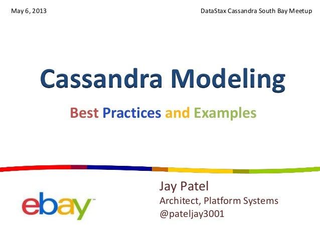 Cassandra ModelingDataStax Cassandra South Bay MeetupJay PatelArchitect, Platform Systems@pateljay3001Best Practices and E...