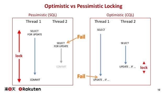 12 Optimistic vs Pessimistic Locking Pessimistic (SQL) Optimistic (CQL) SELECT FOR UPDATE SELECT FOR UPDATE COMMIT COMMIT ...