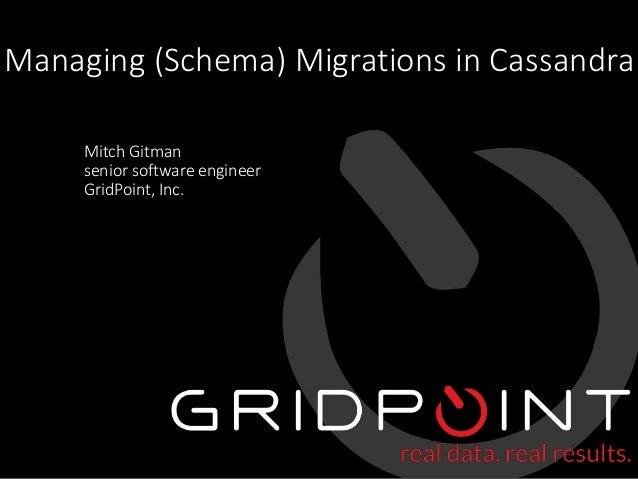 © 2015 GridPoint, Inc. Proprietary and Confidential 1 Managing (Schema) Migrations in Cassandra Mitch Gitman senior softwa...