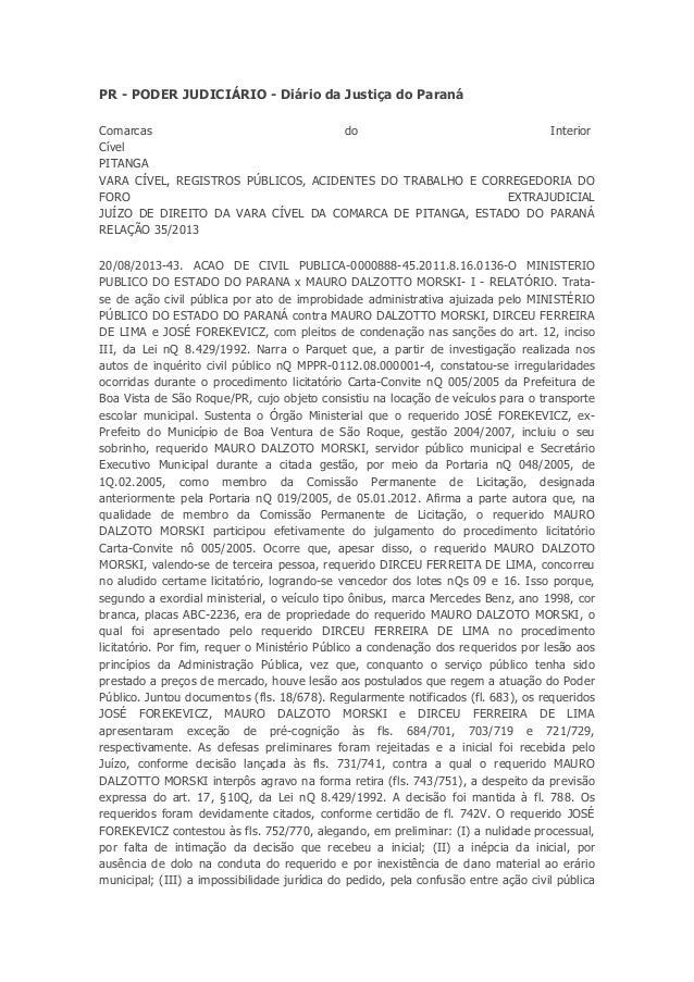 PR - PODER JUDICIÁRIO - Diário da Justiça do Paraná Comarcas do Interior Cível PITANGA VARA CÍVEL, REGISTROS PÚBLICOS, ACI...